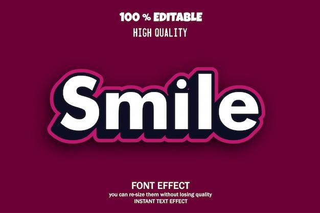 Smile-text, editierbarer font-effekt Premium Vektoren
