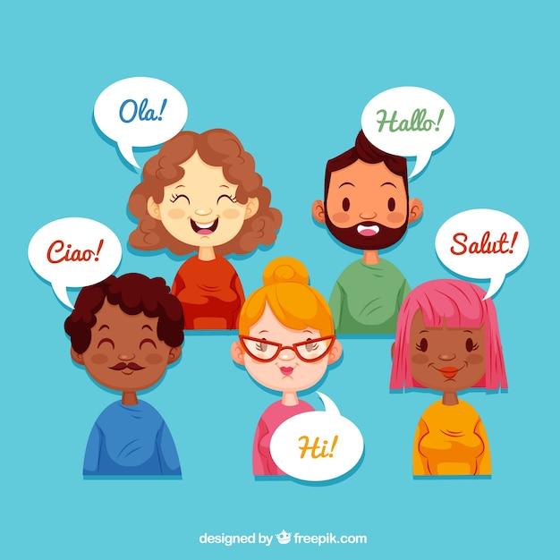 Smileyleute, die verschiedene sprachen mit flachem design sprechen Kostenlosen Vektoren