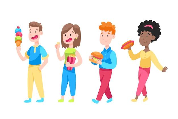 Smileys mit ungesundem essen Kostenlosen Vektoren
