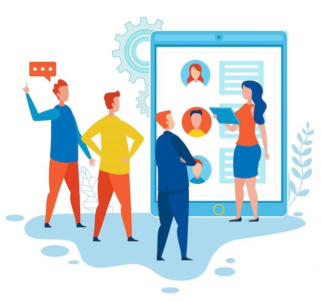 Smm-spezialisten diskutieren über media social network Premium Vektoren