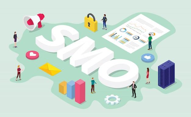 Smo-social media-optimierungskonzept mit digitaler arbeit des teams es über geschäftsdatenanalyse Premium Vektoren
