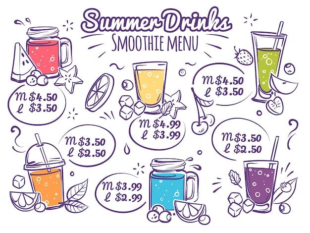 Smoothie-menü obst trinkt bunte bio-cocktailsäfte mit beeren Premium Vektoren