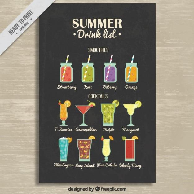 Smoothies und cocktails liste Kostenlosen Vektoren