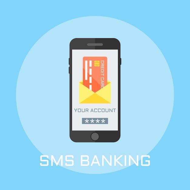 Sms bank flach design-stil illustration, smartphone auf dem bildschirm zeigt umschlag mit kreditkarte Premium Vektoren