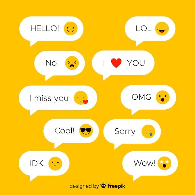 Sms mit emojis Kostenlosen Vektoren