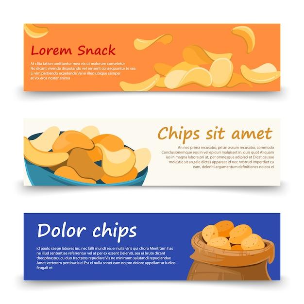 Snack banner vorlage mit kartoffelchips gesetzt Premium Vektoren