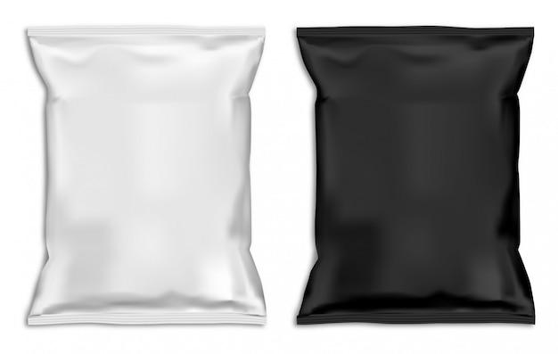 Snack-tasche verspotten. Premium Vektoren