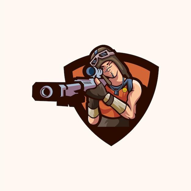 Sniper-logo-design Premium Vektoren