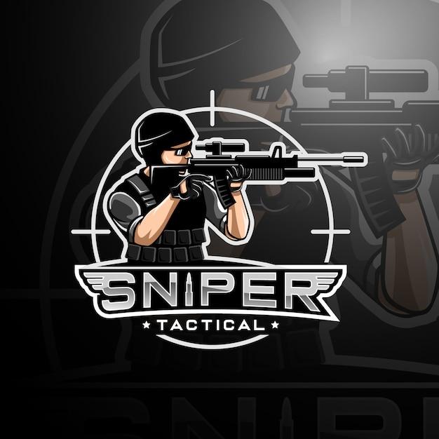 Sniper logo spielesport Premium Vektoren