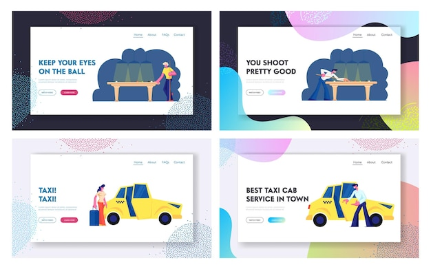Snooker, billardspiel, taxi service website landing page set Premium Vektoren