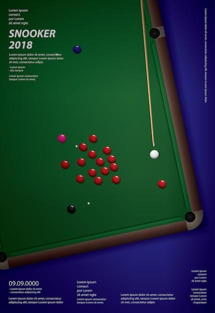 Snooker-meisterschaftsplakat Premium Vektoren
