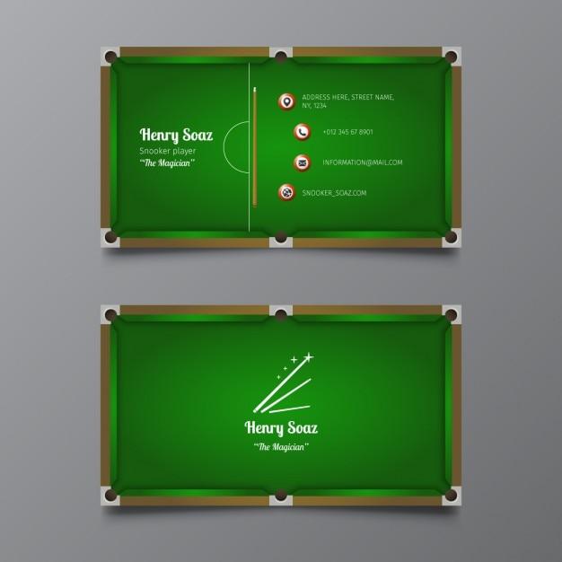 Snooker visitenkarte vorlage Kostenlosen Vektoren