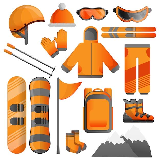Snowboardausrüstungsikonensatz, karikaturart Premium Vektoren