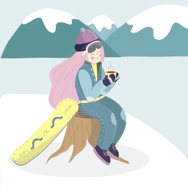 Snowboarderin mit tee Premium Vektoren