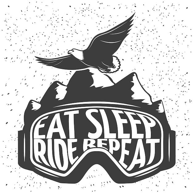Snowboardmaske mit überschrift essen schlaf fahren wiederholen vektorillustration Kostenlosen Vektoren