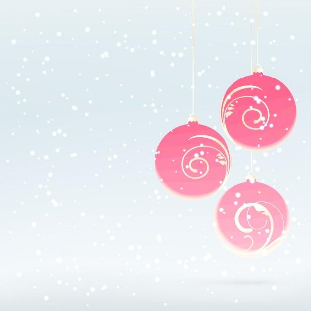 Snowy hintergrund mit rosa weihnachtskugeln download der for Pinke weihnachtskugeln