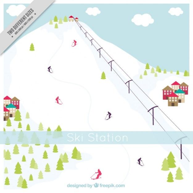 Snowy hohen berg hintergrund und skigebiet Kostenlosen Vektoren