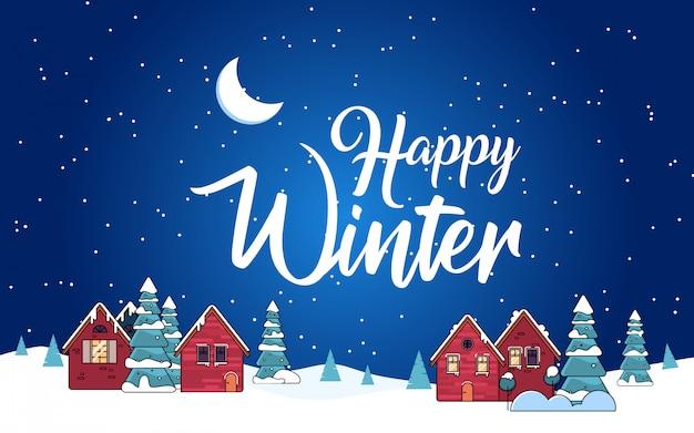 Snowy-nacht in der gemütlichen weihnachtsstadtfahne Premium Vektoren