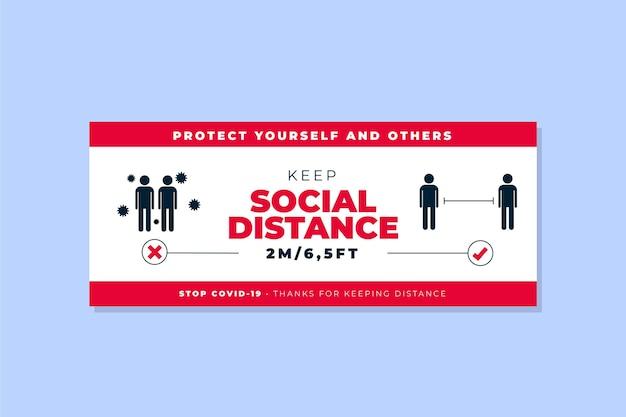 Social distanz banner vorlage Kostenlosen Vektoren