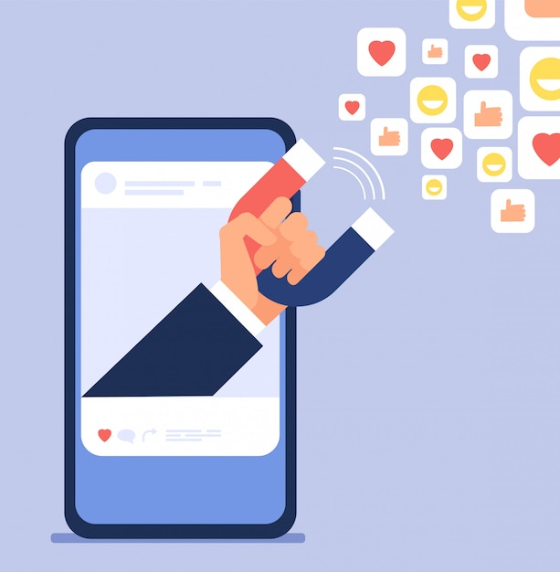Social influencer marketing. die bloggerhand, die magneten hält, schleppt kunden. social media und blogging vektorillustration Premium Vektoren