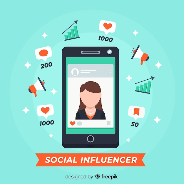 Social influencer marketing Kostenlosen Vektoren