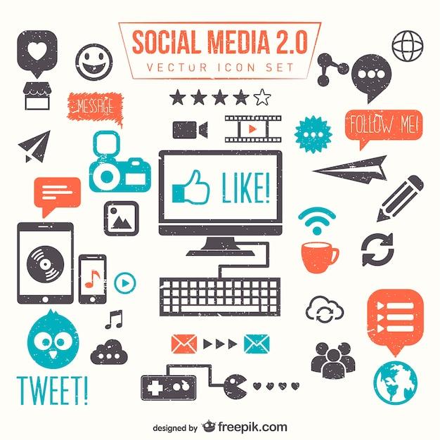 Social-Media-2.0-Vektor-Set Kostenlose Vektoren