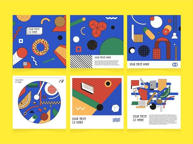 Social media-abstrakte illustrations-schablone Premium Vektoren