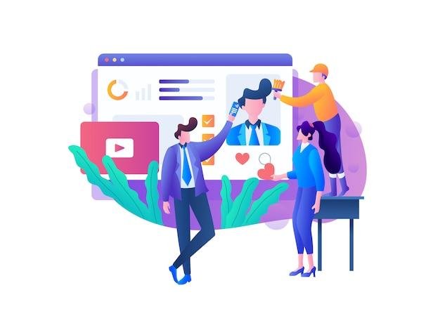 Social media anzeigen management Premium Vektoren