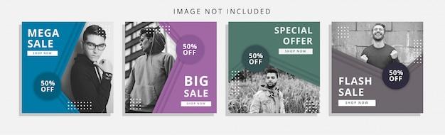 Social media-banner mit papercut-stil festgelegt Premium Vektoren