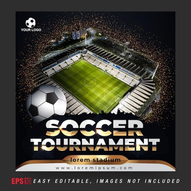 Social media banner post für fußballturnier mit goldener und schwarzer kombinationsfarbe Premium Vektoren
