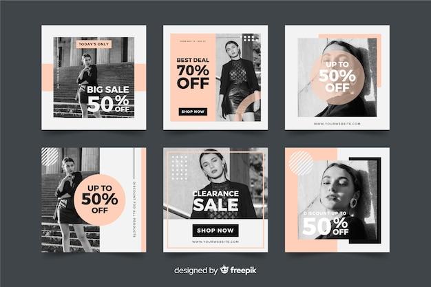 Social-media-banner-sammlung für modeverkäufe Kostenlosen Vektoren