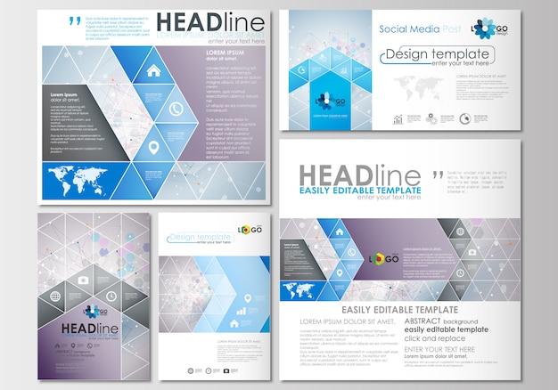Social-media-beiträge eingestellt. geschäftsvorlagen. cover-designvorlage Premium Vektoren