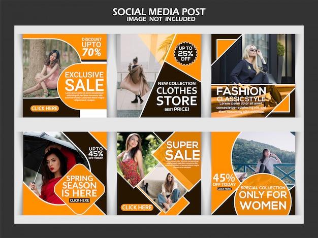 Social-media-beitrag für mode-werbung Premium Vektoren