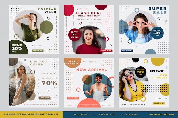 Social media-beitragskreis des unbedeutenden mode-verkaufs Premium Vektoren