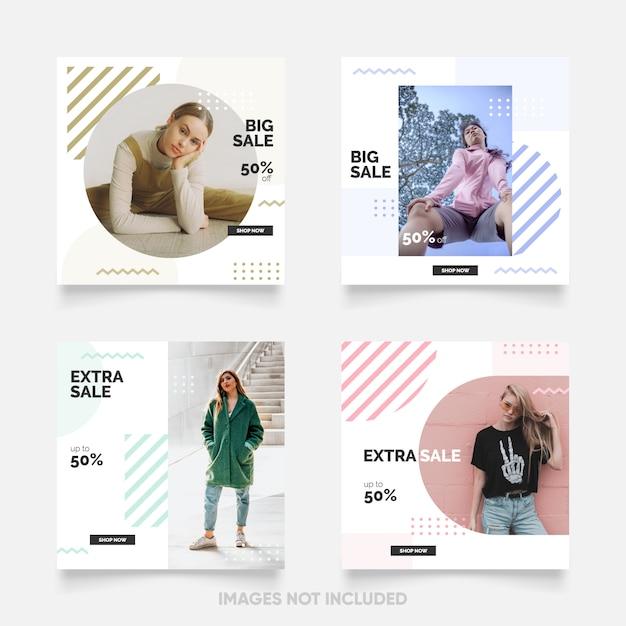 Social media-beitragsschablone mit neuer und spaßmemphis-farbe Premium Vektoren