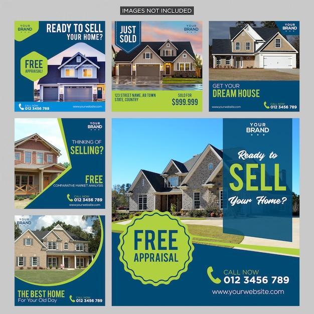 Social media beitragsvorlage für immobilien premium Premium Vektoren