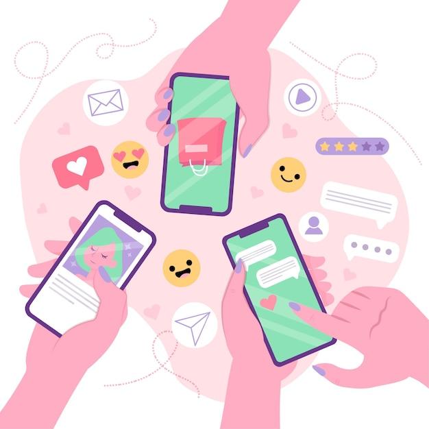 Social media, das zusammen handykonzept mit leuten vermarktet Kostenlosen Vektoren