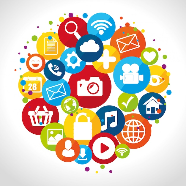 Social media-design mit multimedia-ikonen Premium Vektoren