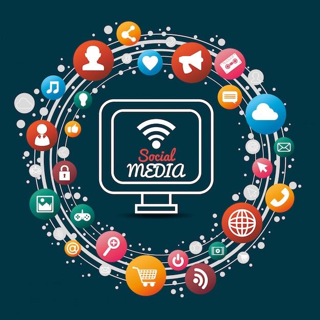 Social media design Kostenlosen Vektoren