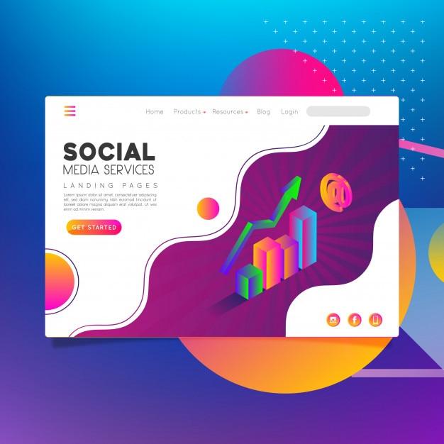 Social-media-dienste für zielseiten Premium Vektoren