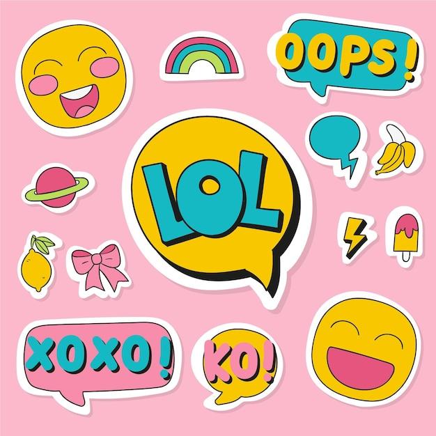 Social media emojis und aufkleber Kostenlosen Vektoren