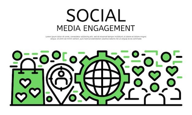 Social media engagement banner, umriss-stil Premium Vektoren