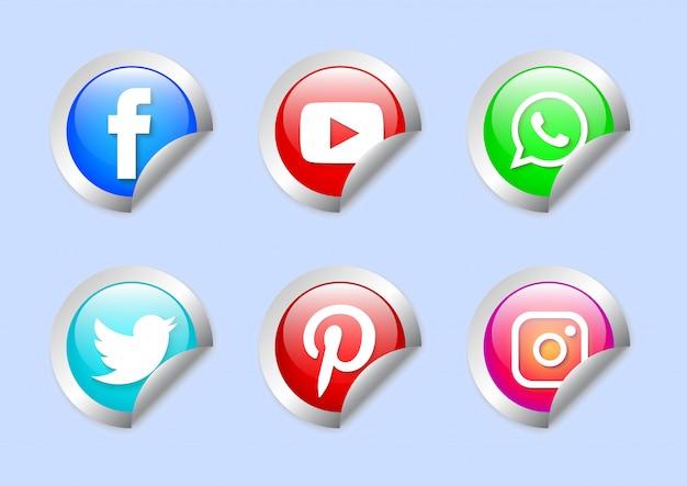Social-media-etiketten festgelegt Premium Vektoren