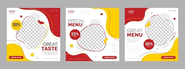 Social media food restaurant social media quadrat banner vorlage Premium Vektoren