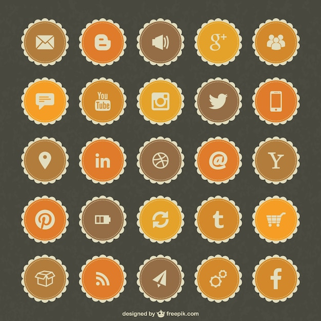 Social-media-freien vektor abzeichen Kostenlosen Vektoren