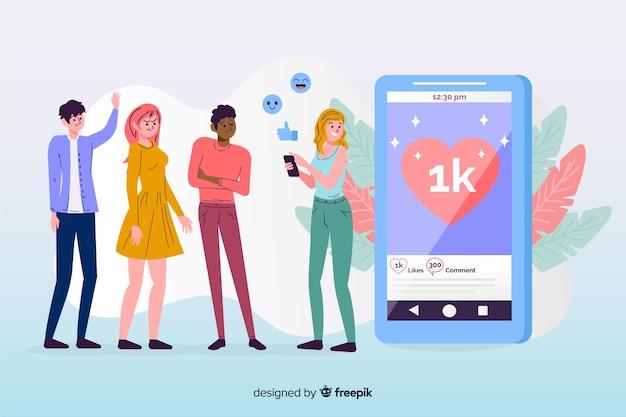 Social media-freundschaftskonzept mit flachem design Kostenlosen Vektoren