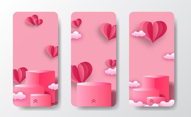 Social media geschichten banner grußkarte für podium bühne produktanzeige valentinstag mit herzform papierschnitt stil illustration und weichen rosa pastell hintergrund Premium Vektoren