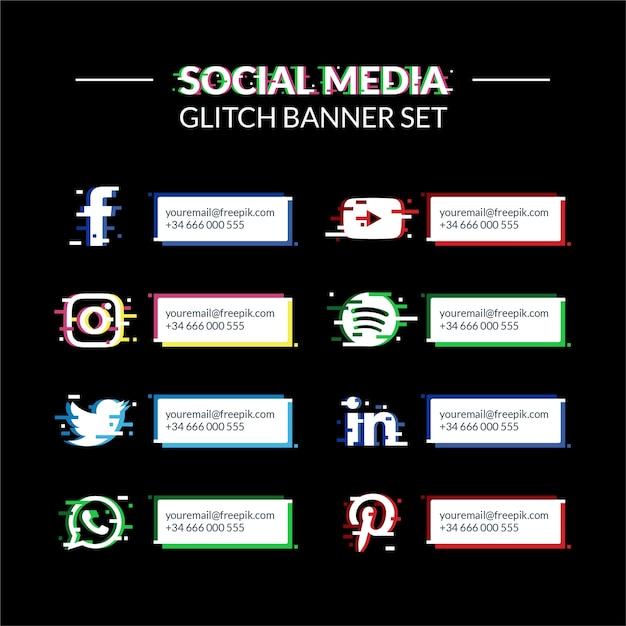 Social media glitch banner set Kostenlosen Vektoren