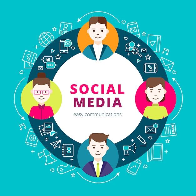 Social media-gruppenkonzeptsatz von liniennetzikonen und von kreativen leuten Kostenlosen Vektoren