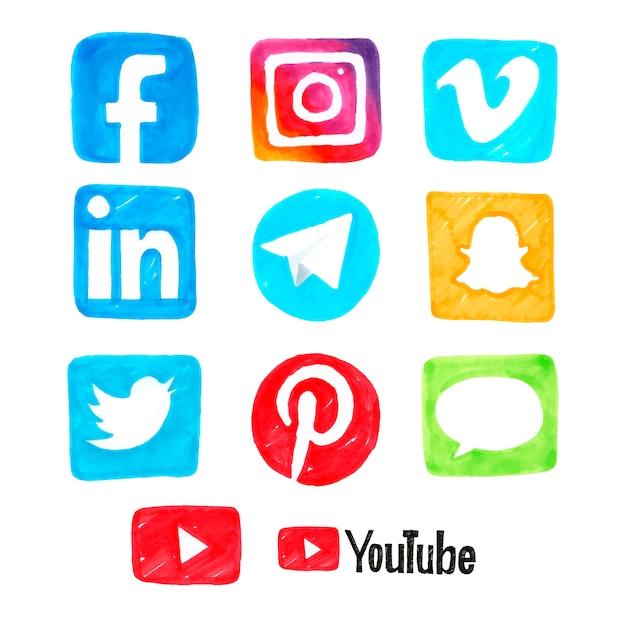 Social media hand gezeichnete symbole Premium Vektoren